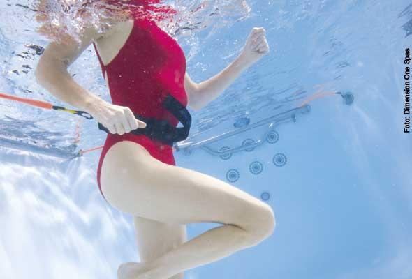 Laufband - mit einem speziellen Bauchgürtel und den dehnbaren Bändern kann man auch ohne Gegenstrom im Wasser joggen oder gehen.